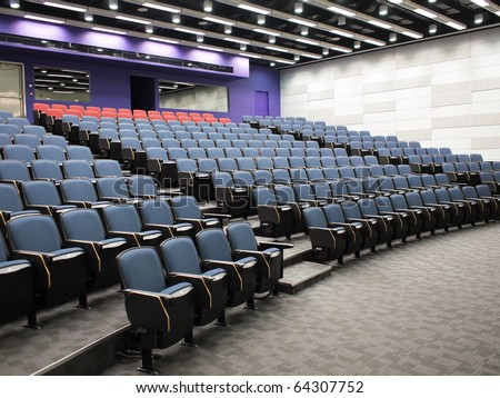 Interior of a contemporary lecture theater in university campus - stock photo