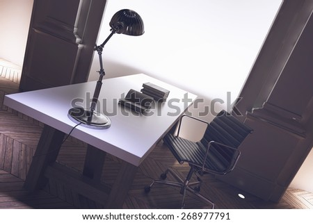 Interior of a corporate directors office with an uncluttered long desk, anglepoise lamp and office chair with architectural pillar detail, tilted angle close up view. 3d Rendering.  - stock photo