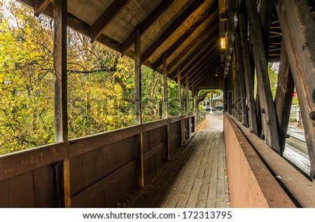 Interior of a Covered Bridge in Vermont - stock photo