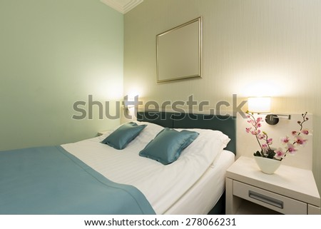 Interior of a double bed bedroom,