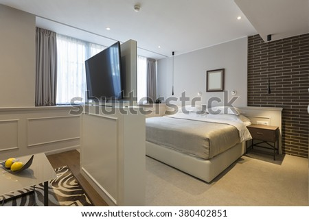Interior of a double hotel bedroom
