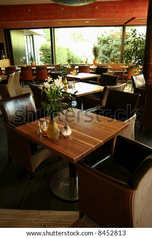 Interior of a fancy restaurant - stock photo