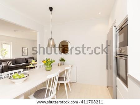 interior of a fancy stylish kitchen - stock photo