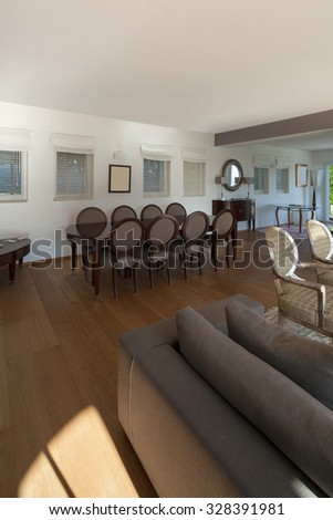 Interior of a furnished house, comfortable living room