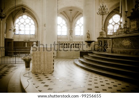 interior of a Gothic church in Paris, France