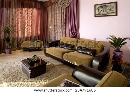 Interior of a guest room in the private house. Indoors.