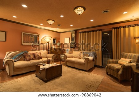 Interior of a home den - stock photo