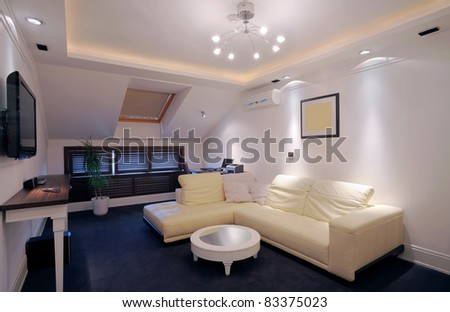 Interior of a hotel apartment with furniture, modern contemporary design.