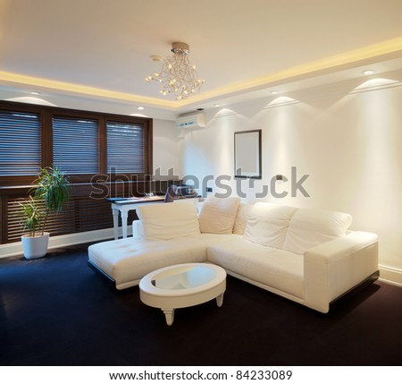 Interior of a hotel apartment with furniture, modern contemporary design. - stock photo