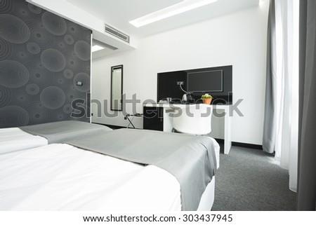 Interior of a hotel bedroom - stock photo