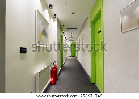 Interior of a hotel corridor - stock photo