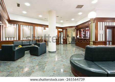 Interior of a hotel lobby  - stock photo