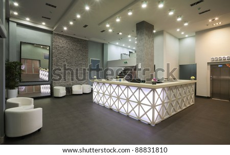 Interior of a hotel reception, modern style. - stock photo