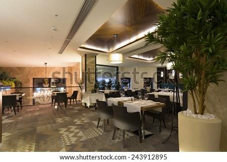 Interior of a hotel restaurant - stock photo