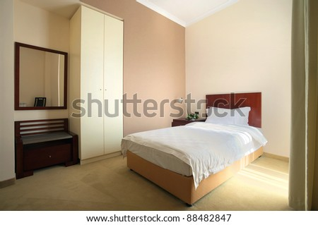 Interior of a hotel room for one person.