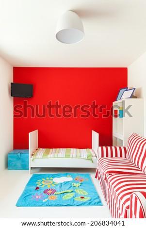 interior of a house, nice children's bedroom - stock photo
