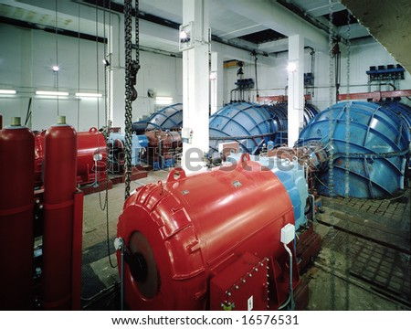Interior of a hydroelectric plant - stock photo