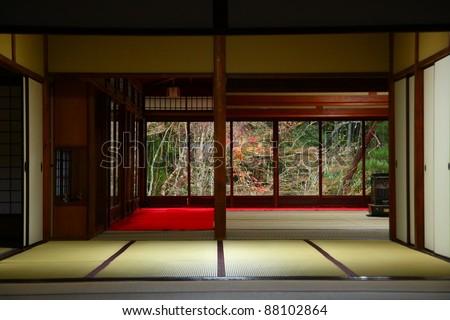 Interior of a japanese temple giving to zen garden (Kyoto, Nanzen-ji) - stock photo