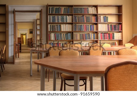 Interior of a library ( Photo HDR) - stock photo