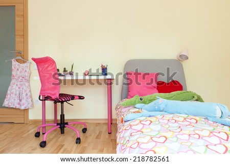 Interior of a little girl room, horizontal - stock photo