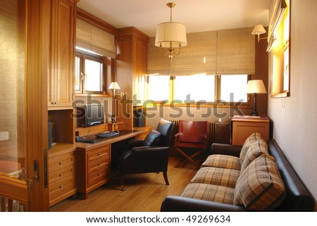 interior of a living room and office room at  home - stock photo