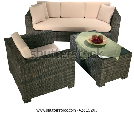 Interior of a living room. Urban rattan furniture isolated on white - stock photo
