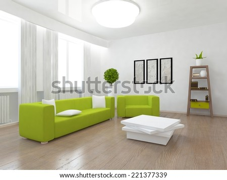 interior of a living room with a green furniture - stock photo