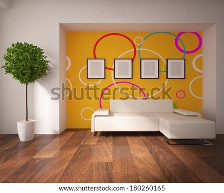 interior of a living room with a orange wall