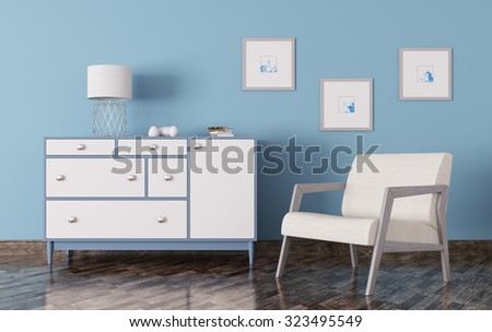 Interior of a living room with chest of drawers and armchair 3d render - stock photo