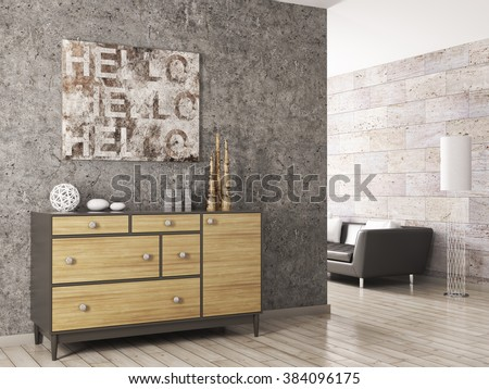 Interior of a living room with wooden cabinet against concrete wall 3d render - stock photo