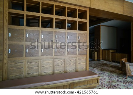 Interior of a locker/changing room - stock photo