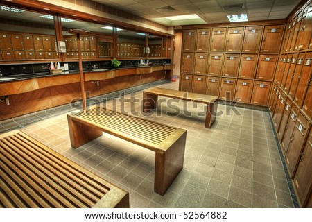 Interior of a locker/changing room in a country club - stock photo