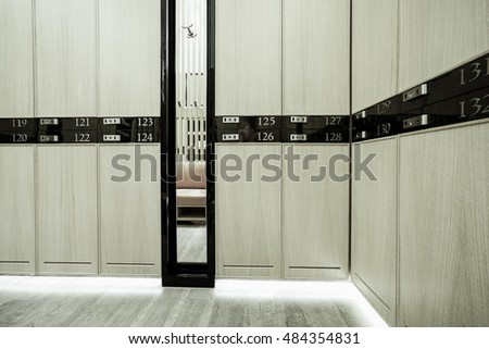 Interior of a locker, shower, changing room