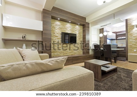 Interior of a luxury apartment in the evening - stock photo