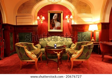 interior of a luxury hotel - stock photo