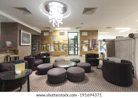 Interior of a luxury hotel  cafe - stock photo