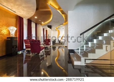 Interior of a luxury hotel lobby  - stock photo