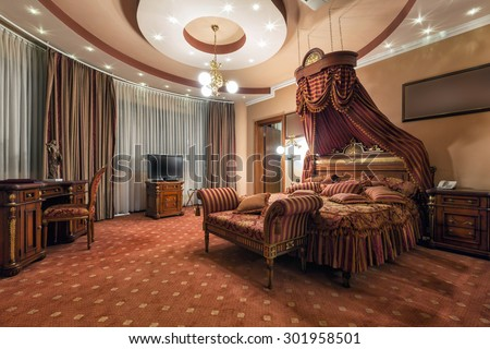 Interior of a luxury hotel room - stock photo