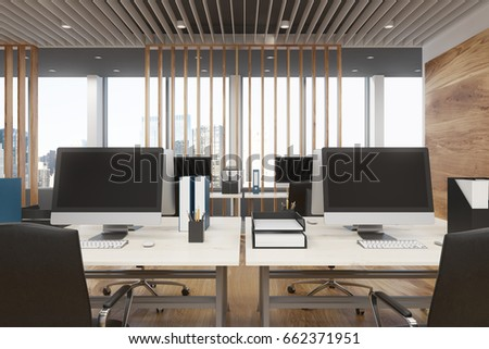 Interior Of A Luxury Office With Wooden Decoration Elements, White Computer  Tables With Blank Monitors