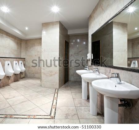 Interior of a luxury public restroom - stock photo