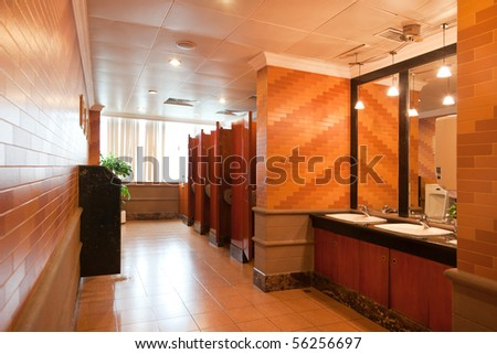 Interior of a luxury public restroom in a modern building - stock photo