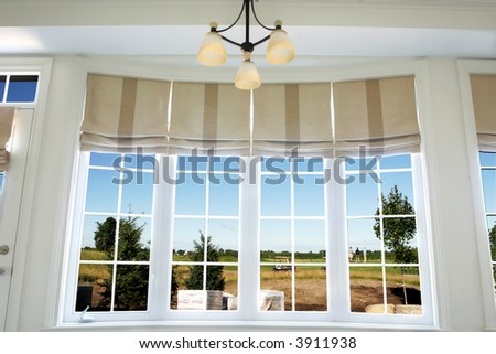 Interior of a model home showing drapery using roman shades - stock photo