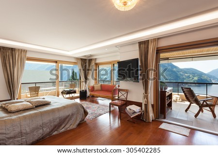 Interior of a modern apartment, classic decor, bedroom - stock photo