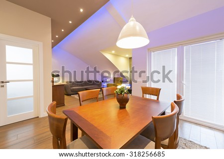 Interior of a modern apartment - dining area - stock photo