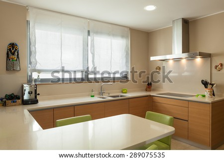Interior of a modern apartment furnished, wide domestic kitchen - stock photo