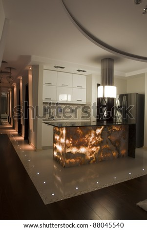 Interior of a modern apartment - low light atmosphere - stock photo