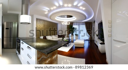 Interior of a modern apartment (panorama) - stock photo