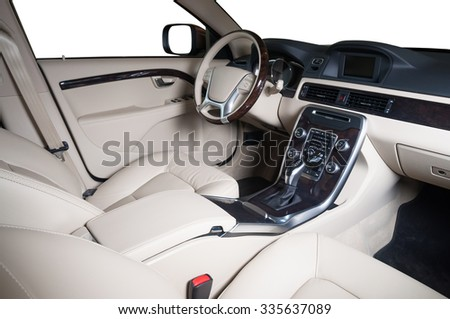 Interior of a modern automobile showing the dashboard - stock photo