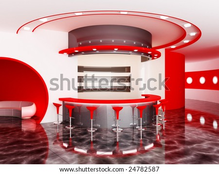 Interior of a modern bar - stock photo