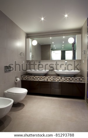 Interior of a modern bathroom - stock photo